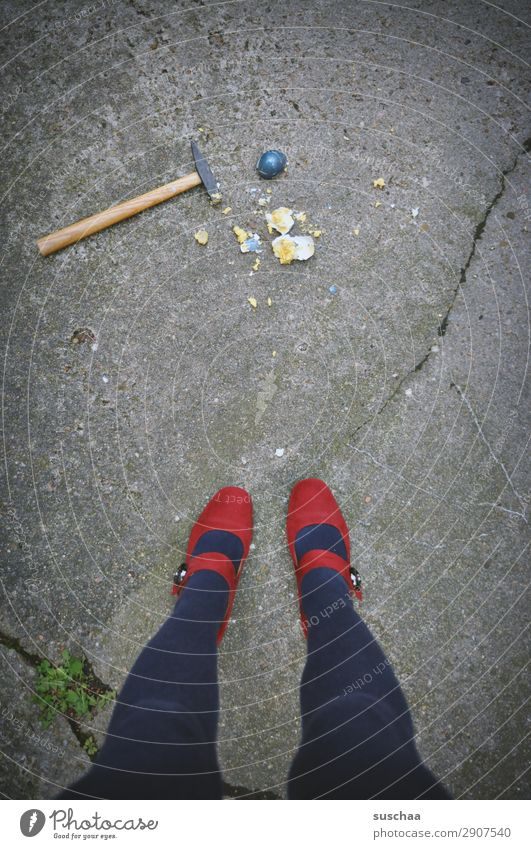 Woman Human being Blue Red Street Legs Spring Feasts & Celebrations Feet City life Going Stand Broken Easter Tradition Asphalt