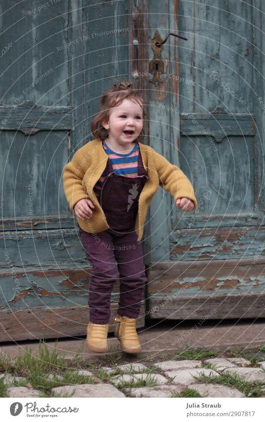 Human being Beautiful Joy Girl Feminine Movement Happy Playing Jump Door Infancy Happiness Joie de vivre (Vitality) Violet Old town Turquoise