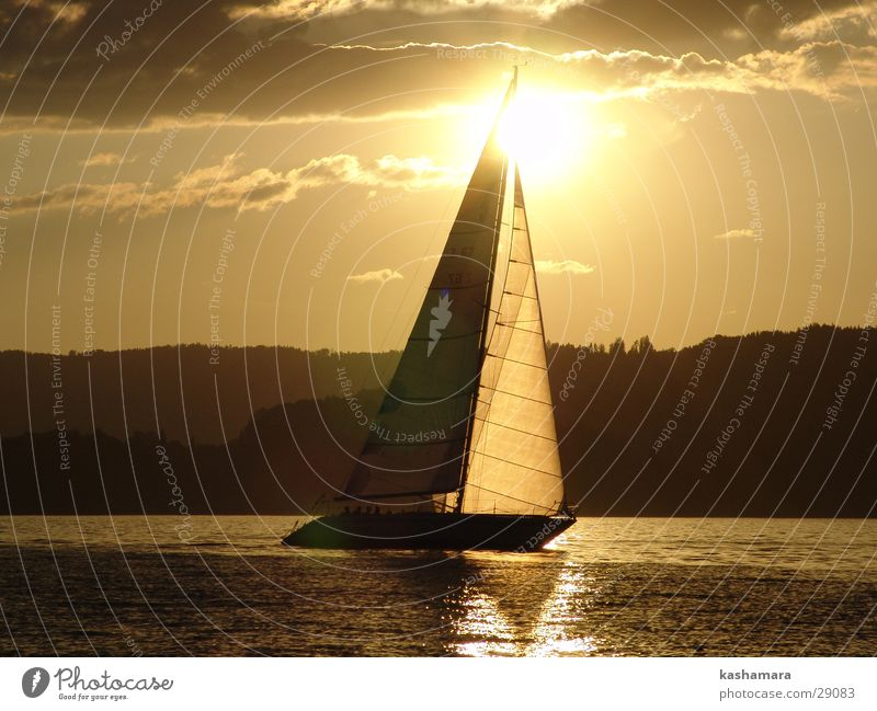 Water Sky Sun Summer Clouds Yellow Sports Lake Watercraft Brown Gold Horizon Sailing Sunset Sailboat
