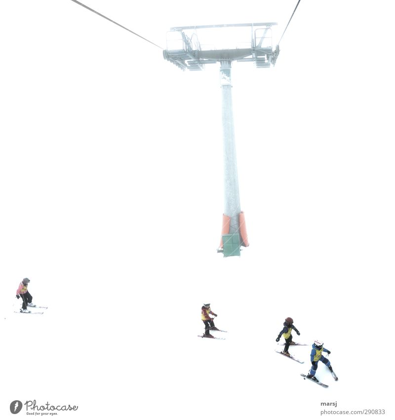 Wait for me! Leisure and hobbies Ski lesson Vacation & Travel Winter Snow Winter vacation Mountain ski holidays Sports Winter sports Skiing Human being Child 4
