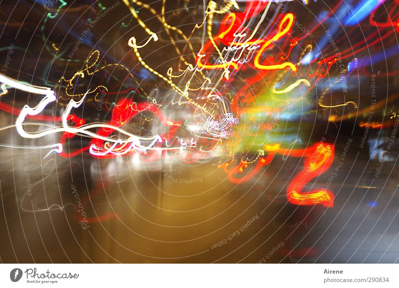 The city doesn't sleep Night life Transport Road traffic Street Line Stripe Tracer path Light Floodlight Movement Driving Blue Multicoloured Yellow Red White