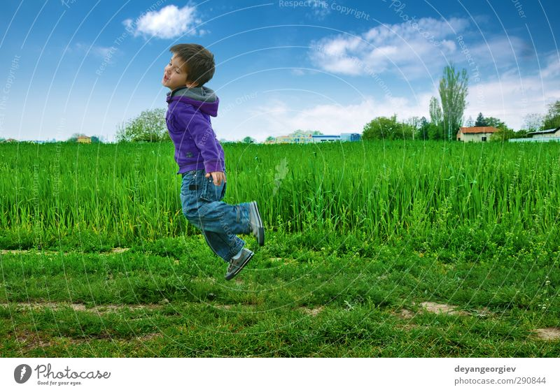 Jumped boy on green meadow, blue sky Joy Playing Camping Summer Success Child Human being Boy (child) Infancy Sky Grass Meadow Hill Smiling Happiness Blue Green