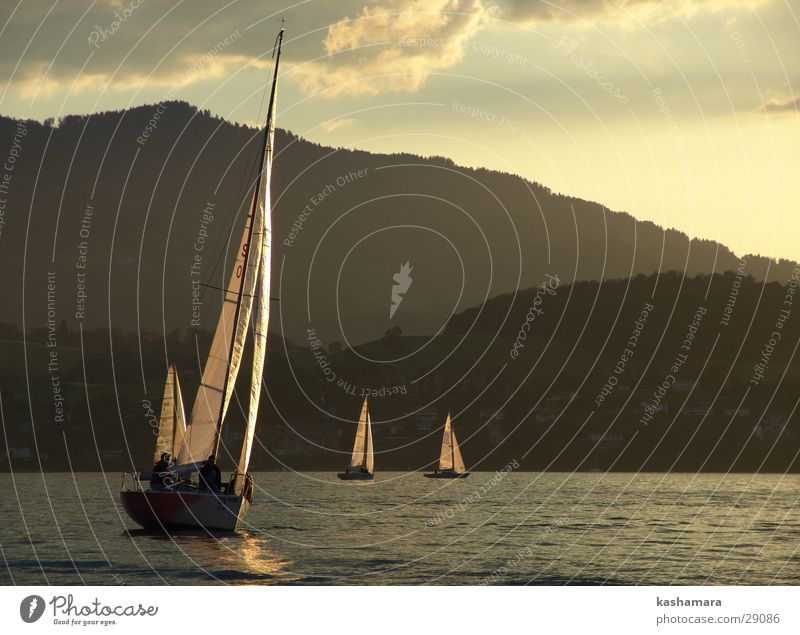 Sky Water Clouds Yellow Mountain Lake Horizon Watercraft Gold Navigation Sailing Sailboat Aquatics Sailing ship Sporting event