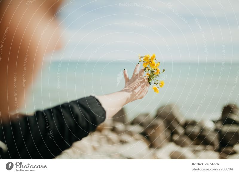 Anonymous woman throwing flowers in sea Woman Flower Ocean Cliff Resort Sunbeam Day Youth (Young adults)