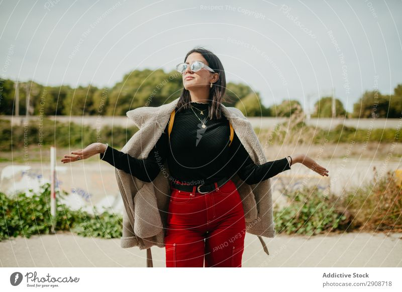 Stylish woman with jacket on beach Woman Beach Looking away Jacket Covering Style Lifestyle Leisure and hobbies Dream Vacation & Travel Youth (Young adults)