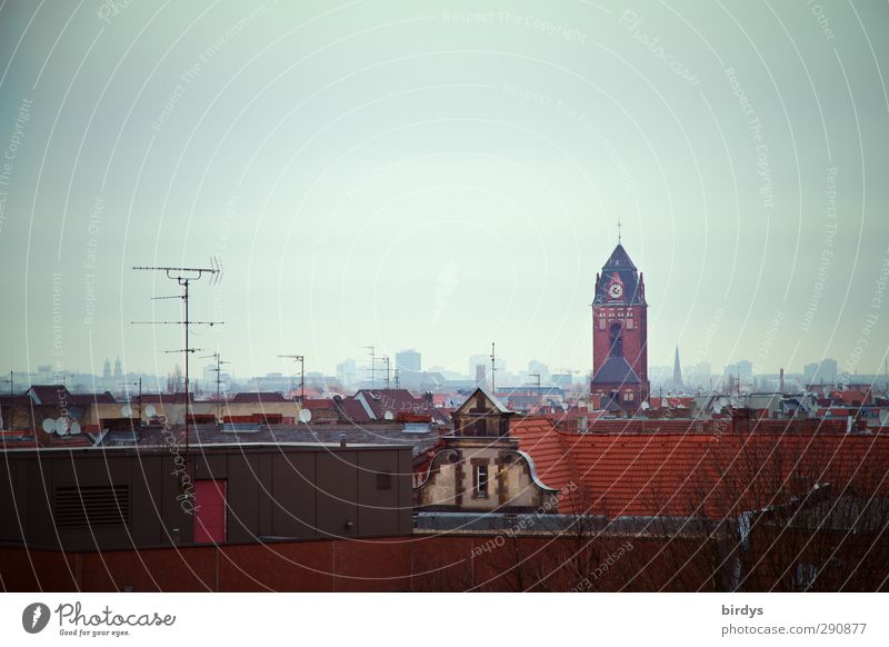 City House (Residential Structure) Berlin Horizon Authentic Church Roof Skyline Bad weather Antenna Original Church spire Neukölln