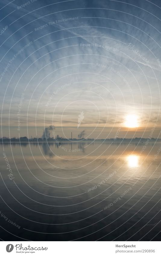 Nature Blue Sun Calm Landscape Lake Horizon Moody Beautiful weather Industry Lakeside Exhaust gas Chimney Industrial plant Veil of cloud