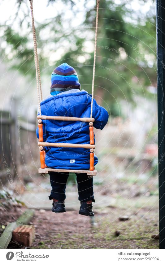 hang out again... Playing Children's game Swing Garden Masculine Toddler Infancy 1 Human being 1 - 3 years Jacket Cap To swing Wait Cold Small Blue Calm