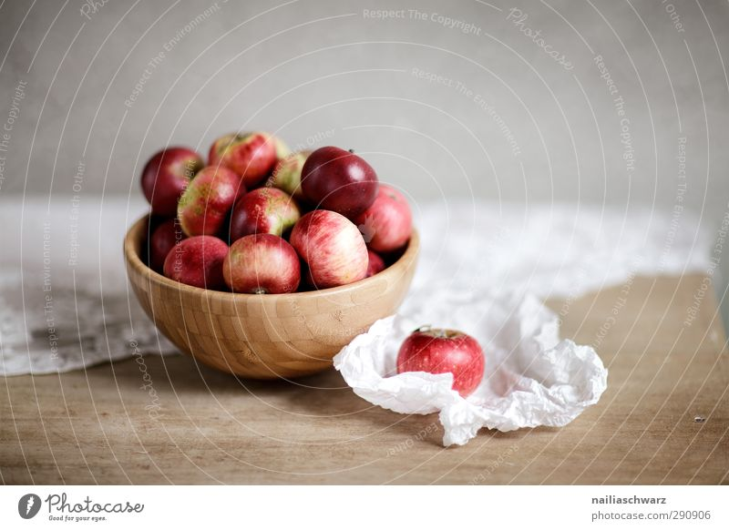 Still life with apples Food Fruit Apple Nutrition Organic produce Diet Bowl Wooden bowl Table Paper Tablecloth Eating Fragrance Fresh Healthy Delicious Natural