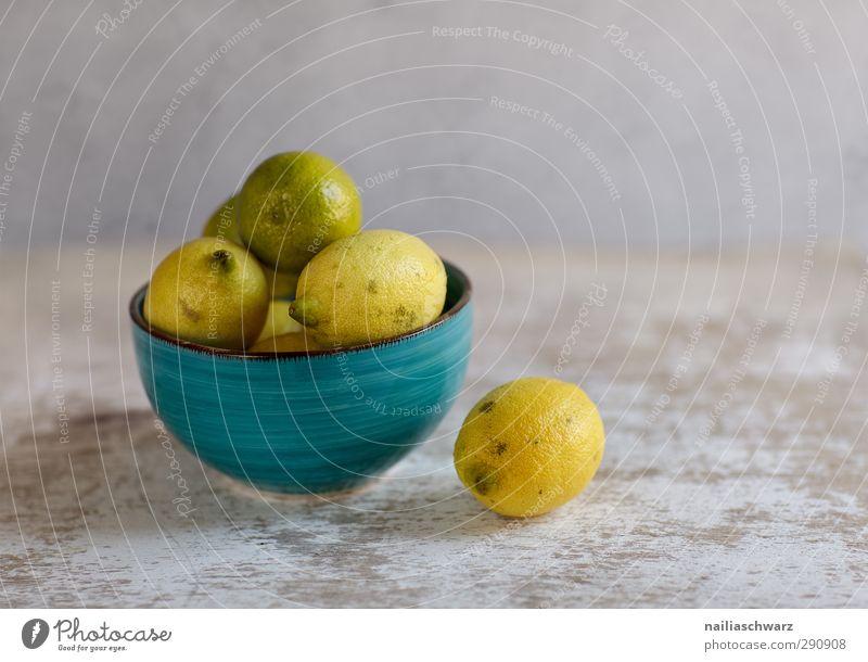 Still life with lemons Food Fruit Lemon Lime Nutrition Organic produce Vegetarian diet Bowl ceramic bowl Simple Fresh Delicious Sour Beautiful Blue Yellow Gray