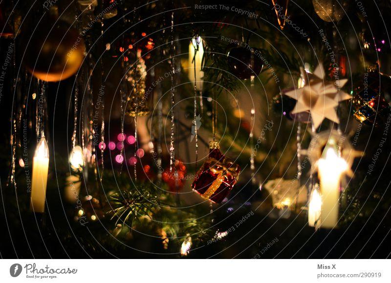 nostalgia Christmas & Advent Illuminate Glittering Gold Christmas tree Glitter Ball Star (Symbol) Moravian star Christmas fairy lights Candle Candlelight Tinsel