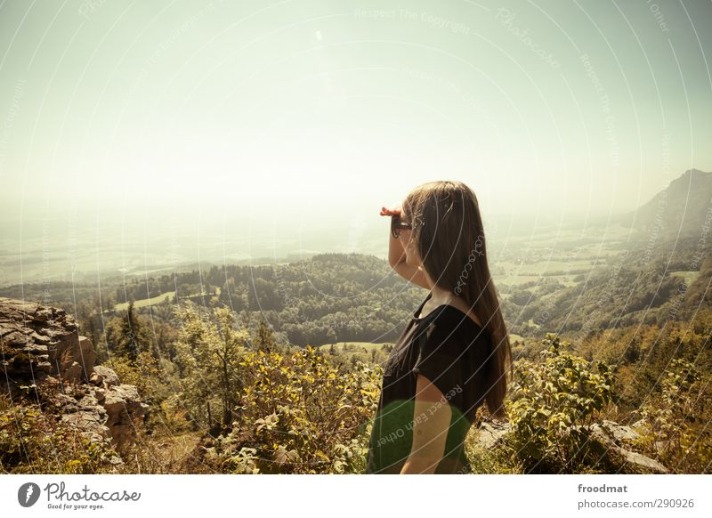 Nature Vacation & Travel Summer Sun Relaxation Far-off places Environment Mountain Autumn Hair and hairstyles Freedom Horizon Dream Fog Hiking Tourism