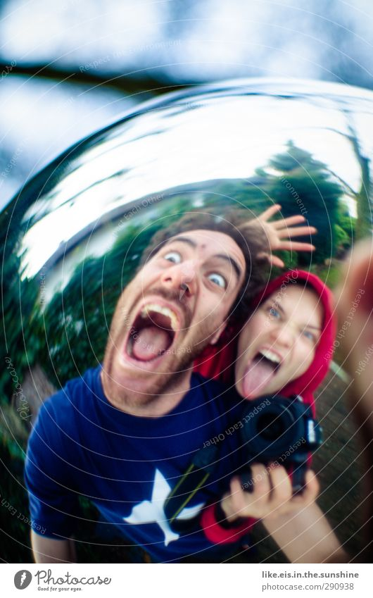 400!! BANG! 2 Human being Whimsical Scream Sphere Mirror image Fisheye Colour photo