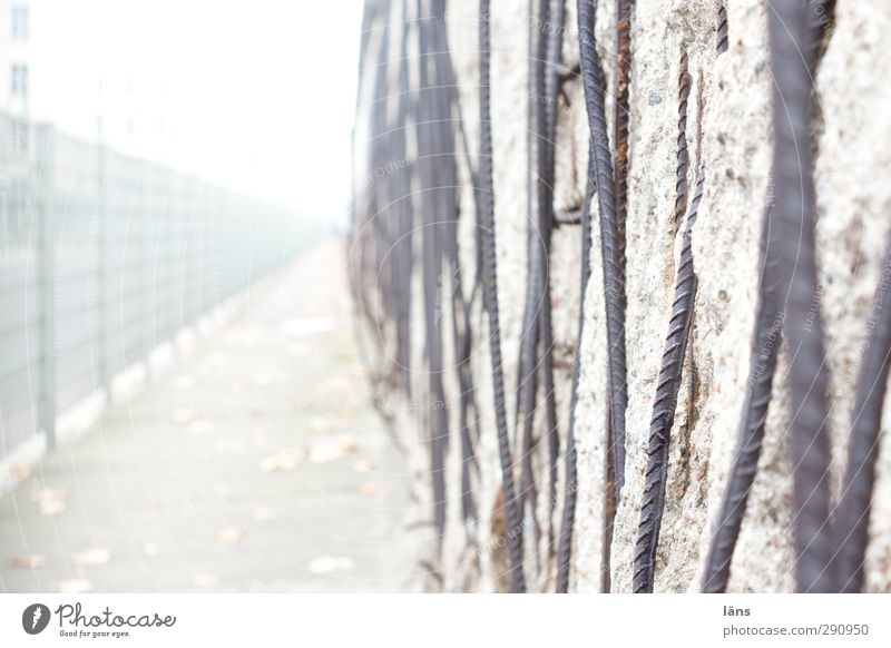 border area The Wall Wall (barrier) Wall (building) Monument Concrete Metal Historic Gray Border Cold War Fence Decline Colour photo Deserted Day Blur