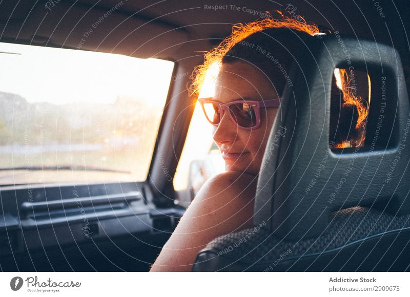 Young woman traveling in car Woman Car Vacation & Travel Passenger Seat Trip Street cantabria Spain Youth (Young adults) Lifestyle Leisure and hobbies Rest