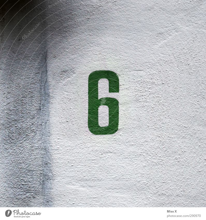 6 Sign Characters Signs and labeling Green Simple Painted House number Digits and numbers Wall (building) House (Residential Structure) Colour photo