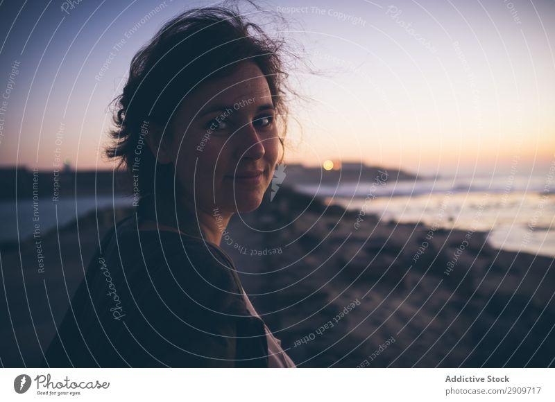 Beautiful female near waving sea Woman Beach Ocean Waves Sky Tarifa Spain Vacation & Travel Relaxation Rest Leisure and hobbies Lifestyle Resort Coast Tide