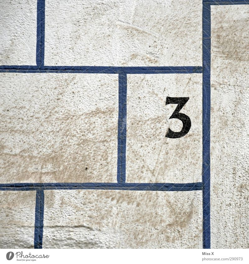 Blue House (Residential Structure) Wall (building) Line Dirty Signs and labeling 3 Characters House number