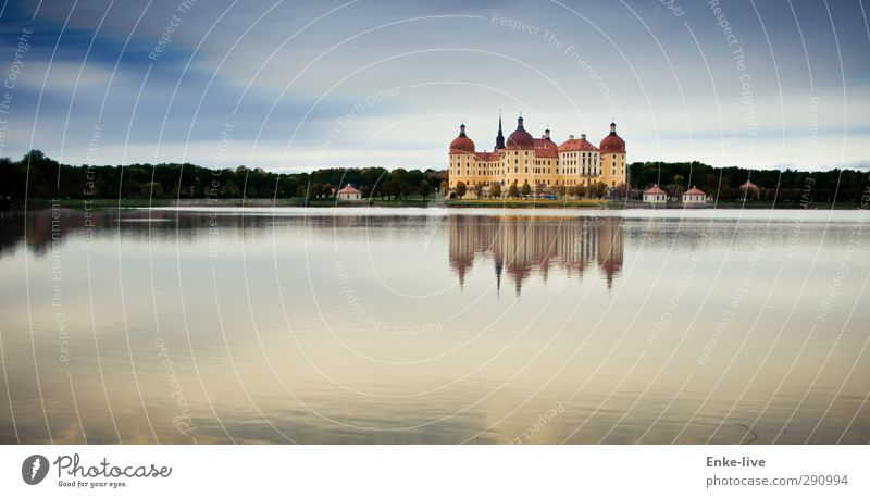 Moritzburg Environment Sky Beautiful weather Lakeside Castle Park Building Esthetic Exceptional Rich Blue Yellow Calm Conceited Luxury Might Tourism