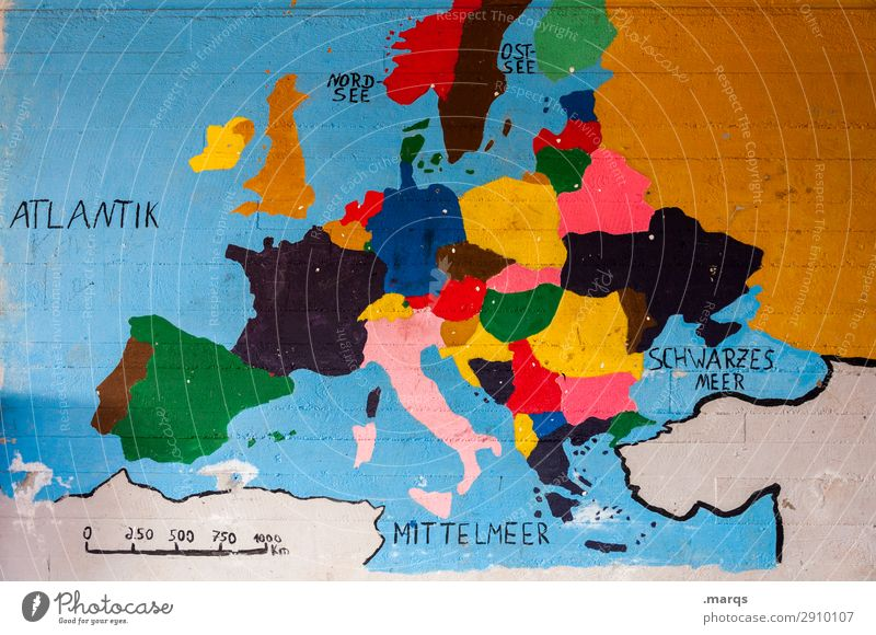 Colourful Europe Education Wall (barrier) Wall (building) Map Multicoloured Politics and state Geography Physical maps Continents Portugal Spain France Germany