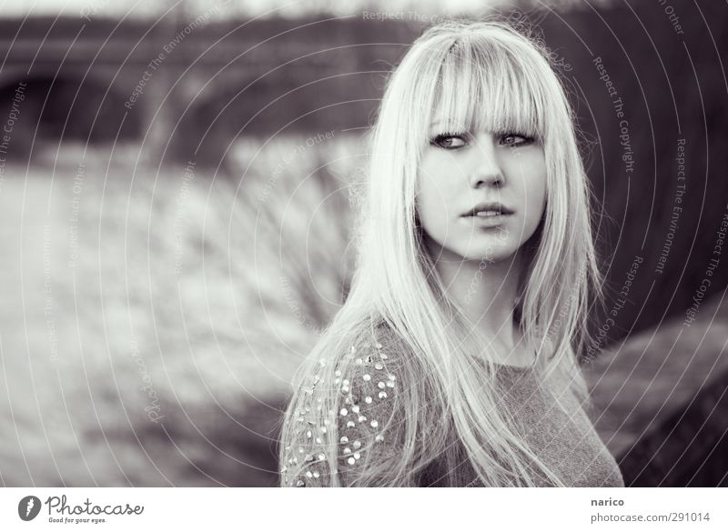 I'll go with you (b/w) Lifestyle Style Young woman Youth (Young adults) Adults 1 Human being 18 - 30 years River Bridge Sweater Blonde Long-haired Bangs Rotate
