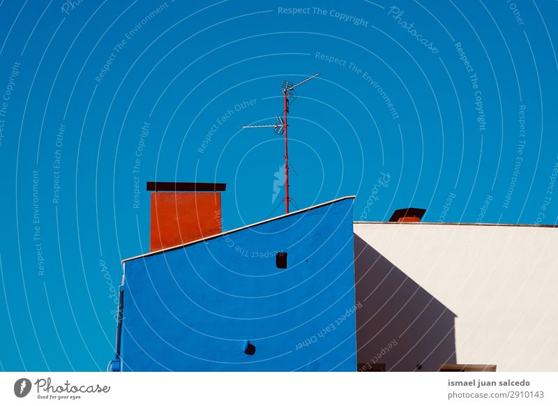 television aerial on the roof in the house Antenna Aircraft Television TV set Television tower Radio antenna Technology Sky Roof City Building Architecture