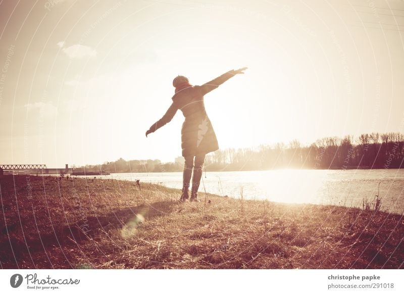 Human being Woman Youth (Young adults) Joy Winter Young woman Adults Life Feminine Autumn Freedom Coast Dance Beautiful weather Joie de vivre (Vitality) Jacket