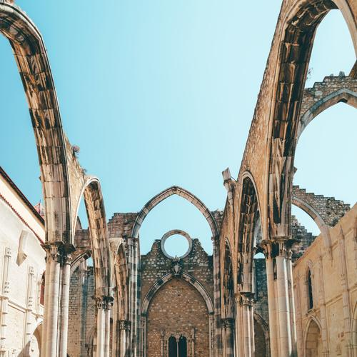 Convent Of Our Lady Of Mount Carmel (Convento da Ordem do Carmo) Is A Gothic Roman Catholic Church Built In 1393 In Lisbon City Of Portugal carmo igreja