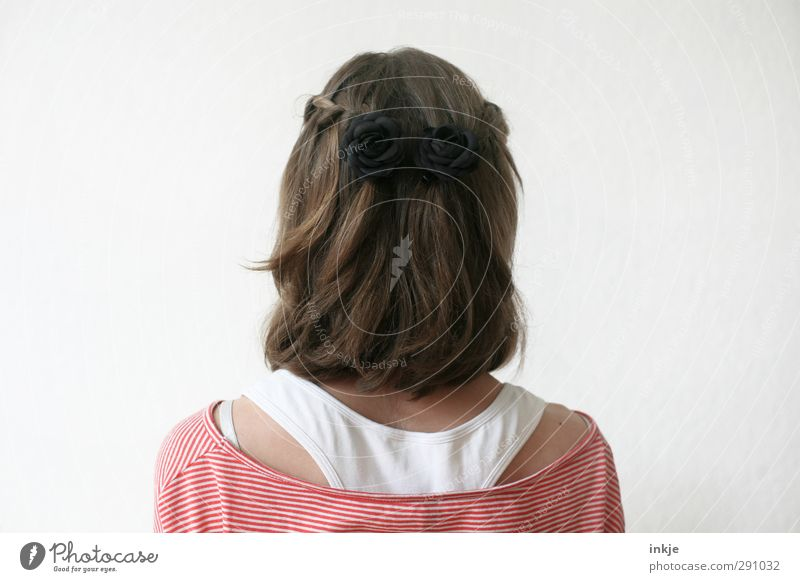 rear view Human being Girl Infancy Youth (Young adults) Life Hair and hairstyles Back 1 Brunette Long-haired Braids Stand Beautiful Identity Looking away Slick
