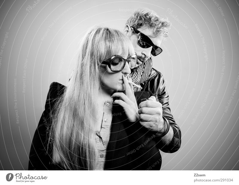 two on fire Style Couple Partner 2 Human being 18 - 30 years Youth (Young adults) Adults Leather jacket sako Sunglasses Scarf Blonde Moustache Smoking Stand