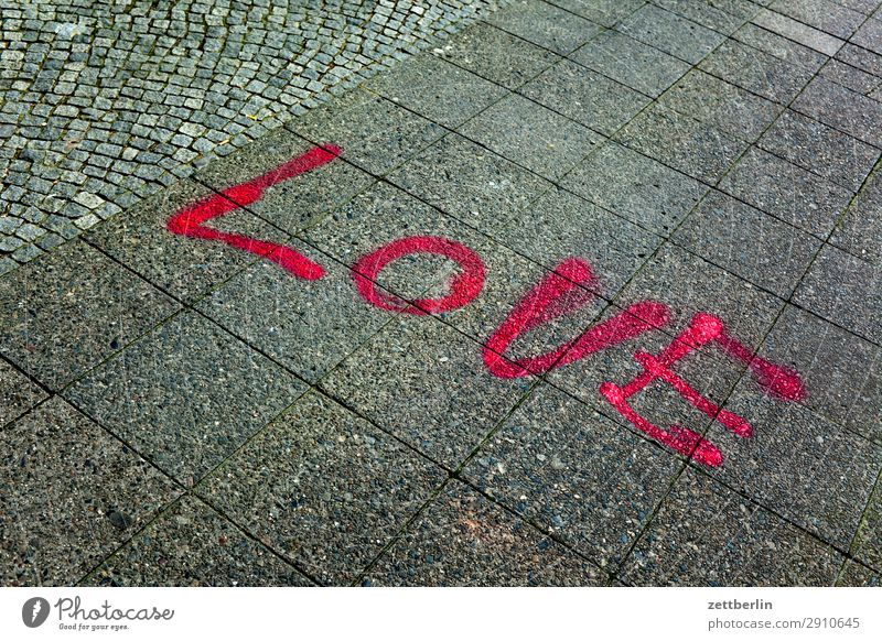 love Love Declaration of love Emotions Spring fever Together Relationship Characters Word Graffiti Sidewalk Footpath
