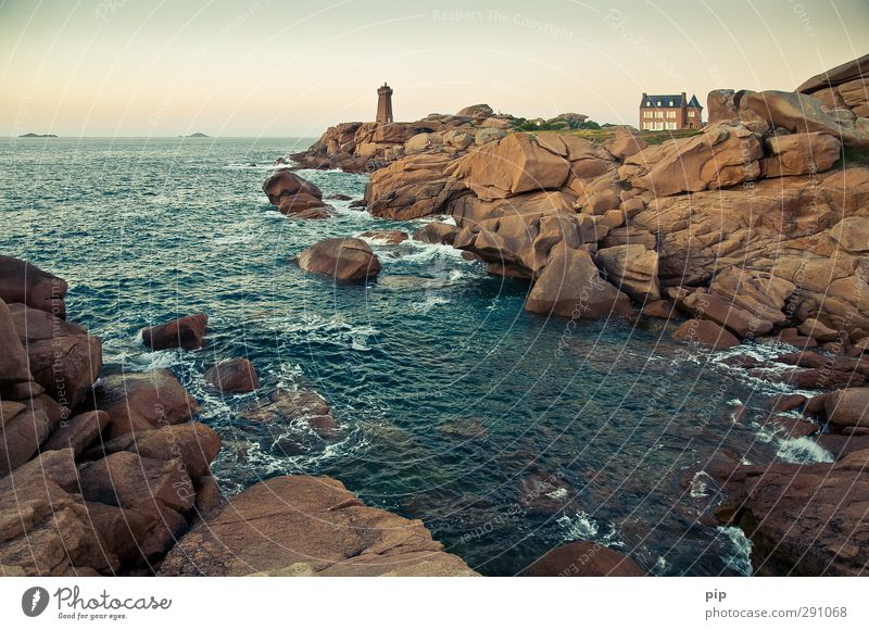 phare, far away Environment Water Summer Beautiful weather Rock Waves Coast Bay Reef Ocean Cote de Granit Rose Brittany Deserted House (Residential Structure)