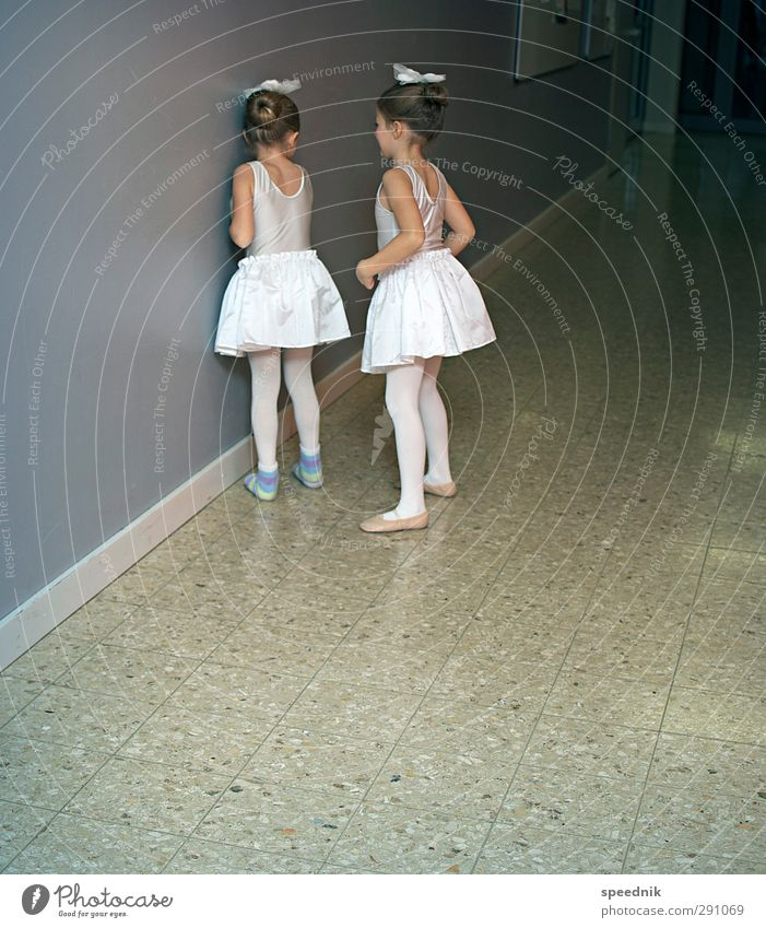 In front of the big tableau Beautiful Ballet Dance Human being Feminine Child Girl Infancy 2 3 - 8 years Dance event Stage Jersey Fragrance Dark Cute Clean