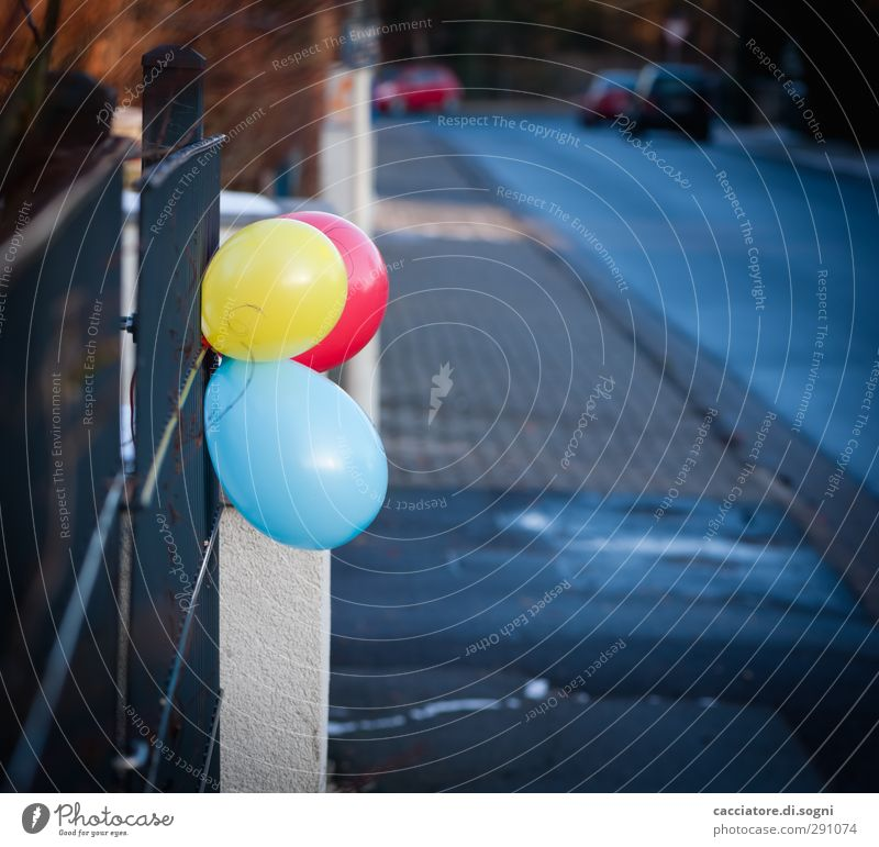come to my party Birthday Town Deserted Fence Street Balloon Plastic Simple Happiness Cute Blue Yellow Red Joy Anticipation Friendship Infatuation Hospitality