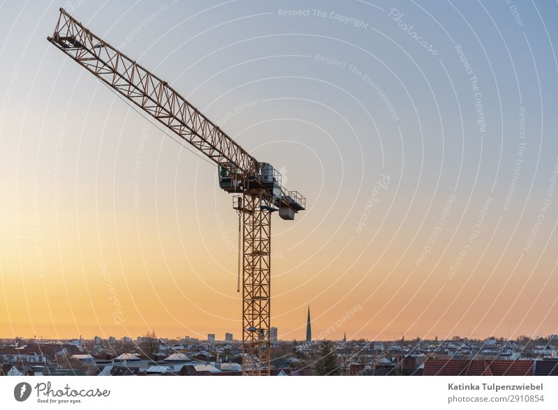 Construction site Hamburg Economy Industry Financial Industry Business Construction machinery Technology Sky Sunrise Sunset Spring Beautiful weather Town