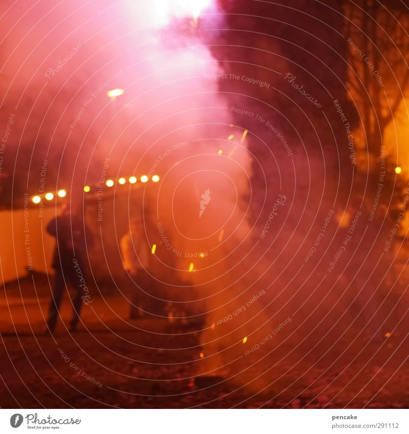 Red Feasts & Celebrations Party Dangerous Hot New Year's Eve Event Firecracker Exhaust gas Night life Crash Incandescent Red light 2013 Smoke bomb