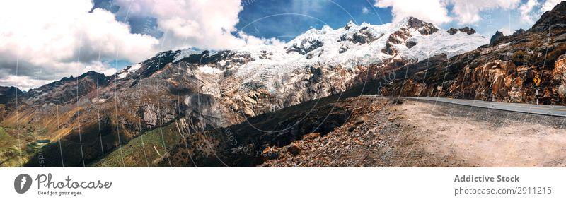 Bautiful snowy mountains in Huaraz, Peru, South America. Panoram Mountaineer Snow Exterior shot Hiking Adventure Destination