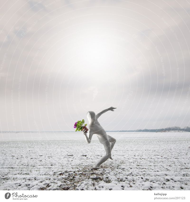 Human being Nature Man Green White Plant Flower Winter Landscape Adults Environment Spring Gray Horizon Pink Body