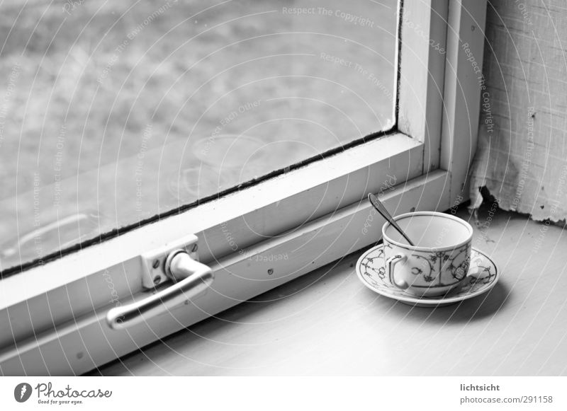 country life To have a coffee Hot drink Coffee Tea Plate Cup Spoon Village Window Old Nostalgia Window pane Door handle Glazing Wallpaper Change of scene