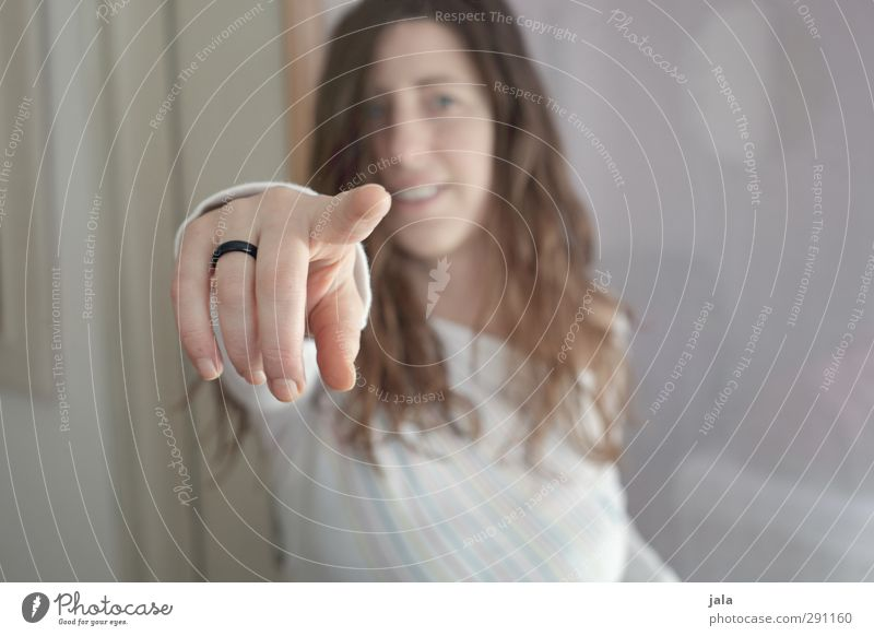 you've got something... Human being Feminine Woman Adults Hand Fingers 1 30 - 45 years Communicate Gesture Indicate Colour photo Interior shot Copy Space left