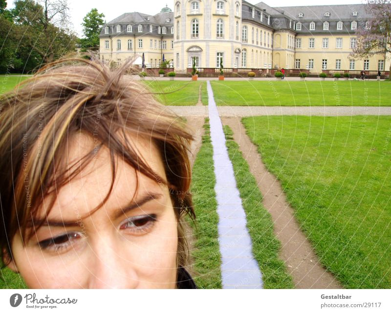 Woman Old Meadow Lanes & trails Castle Historic Landmark Museum Self portrait Sightseeing Tourist Attraction Karlsruhe Baden-Wuerttemberg City trip Castle yard