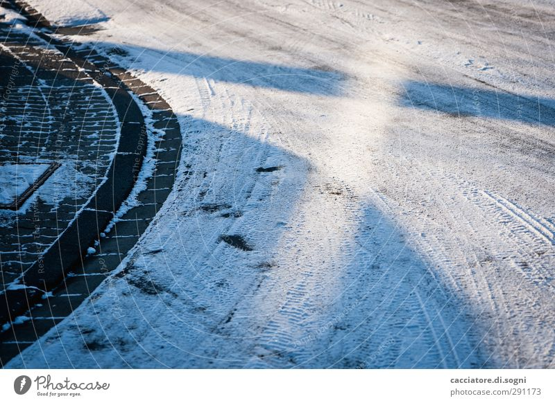 street Winter Snow Deserted Street Lanes & trails Exceptional Cool (slang) Cold Blue Modest Curiosity Boredom Dream Bizarre Apocalyptic sentiment Expectation
