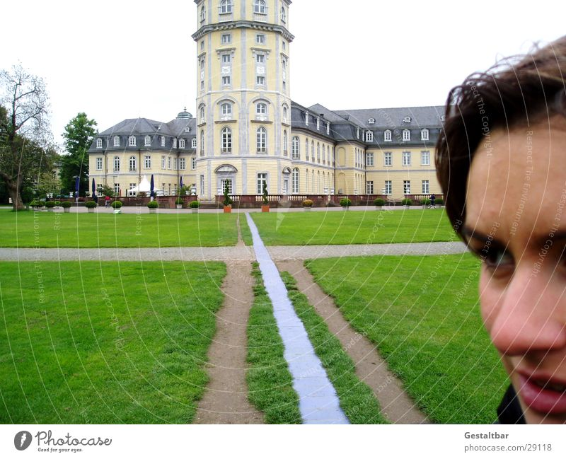 Woman Old Meadow Lanes & trails Architecture Castle Historic Landmark Museum Sightseeing Tourist Attraction Karlsruhe Baden-Wuerttemberg City trip Castle yard