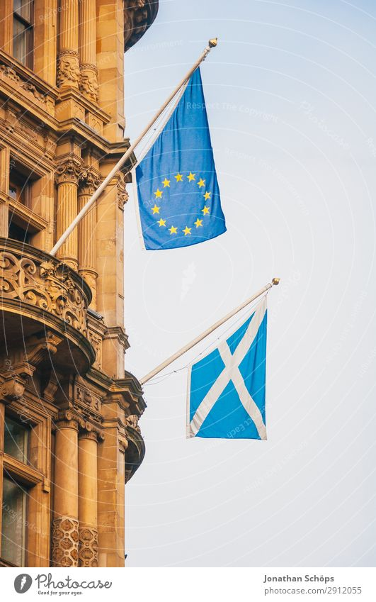 Flags of Scotland and the European Union House (Residential Structure) Town Capital city Facade Blue Politics and state EU Edinburgh Great Britain brexite