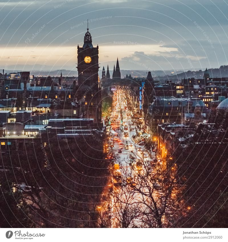 View at dusk of Princes Street in Edinburgh House (Residential Structure) Town Tower Transport Rush hour Hospitality balmoral Great Britain Scotland Lighting