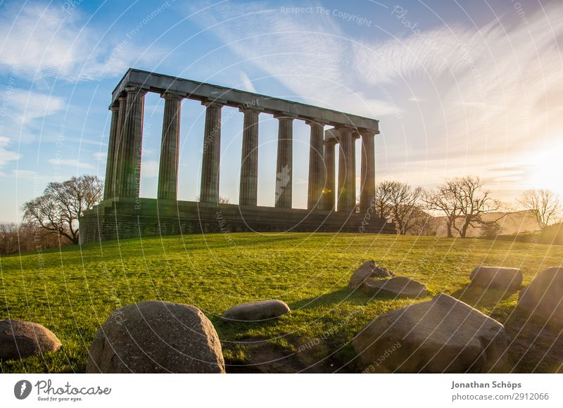 National Monument, Calton Hill, Edinburgh Tourism Mountain Landscape Meadow Manmade structures Building Architecture Tourist Attraction Landmark Bright
