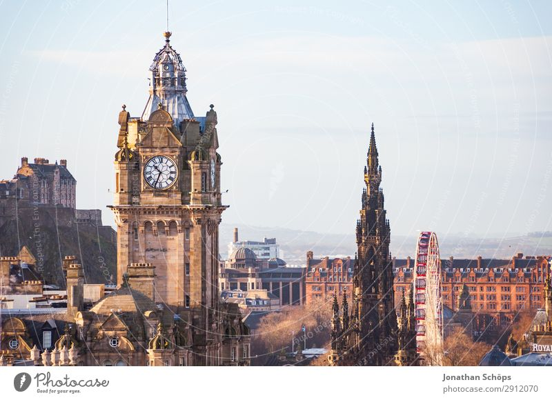 View of Balmoral, Scott Monument, Castle Tourism Mountain Landscape Hill Capital city Downtown Old town Pedestrian precinct Skyline Populated Overpopulated