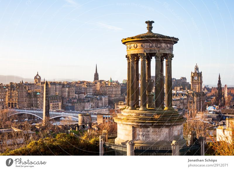 View from Calton Hill to Dugald Stewart Monument Tourism Downtown Old town Skyline Populated Tourist Attraction Landmark balmoral Edinburgh Great Britain
