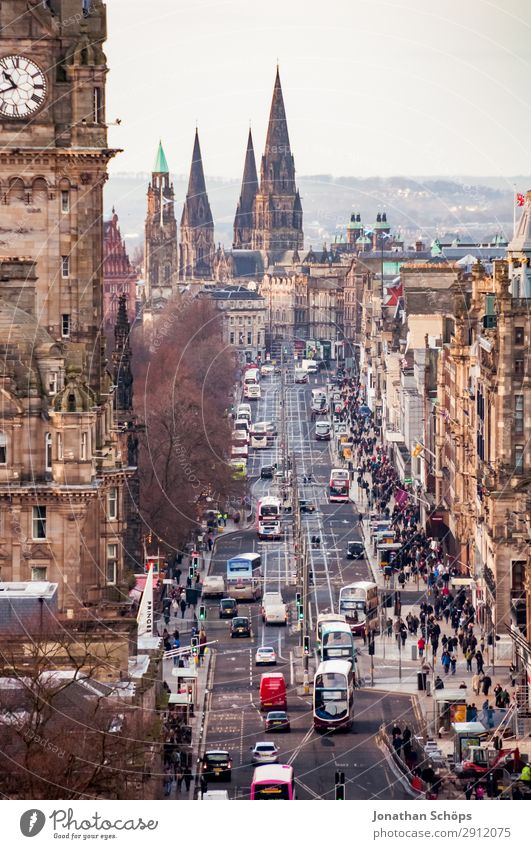 View of Princes Street in Edinburgh House (Residential Structure) Human being Crowd of people Town Capital city Downtown Old town Pedestrian precinct Skyline