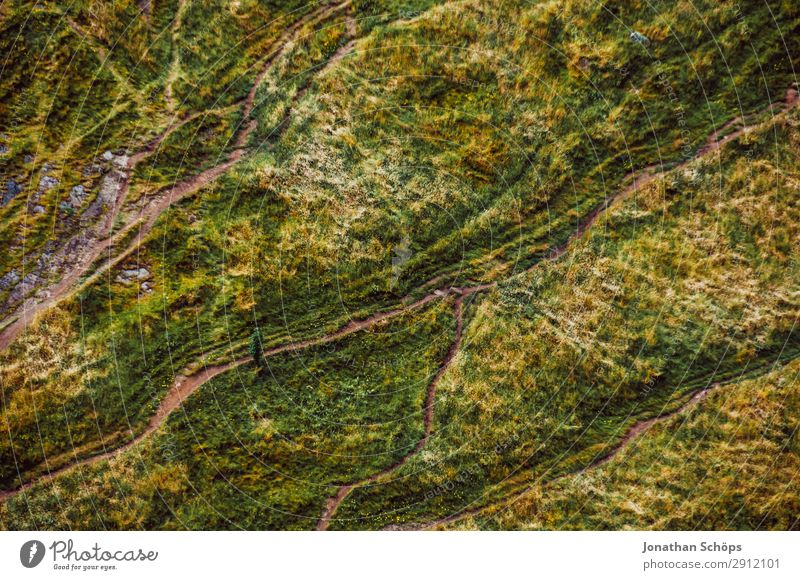 Bird's eye view of hiking trails near Edinburgh, Scotland Hiking Nature Landscape Meadow Lanes & trails Esthetic Great Britain Miniature Footpath Arthur's Seat